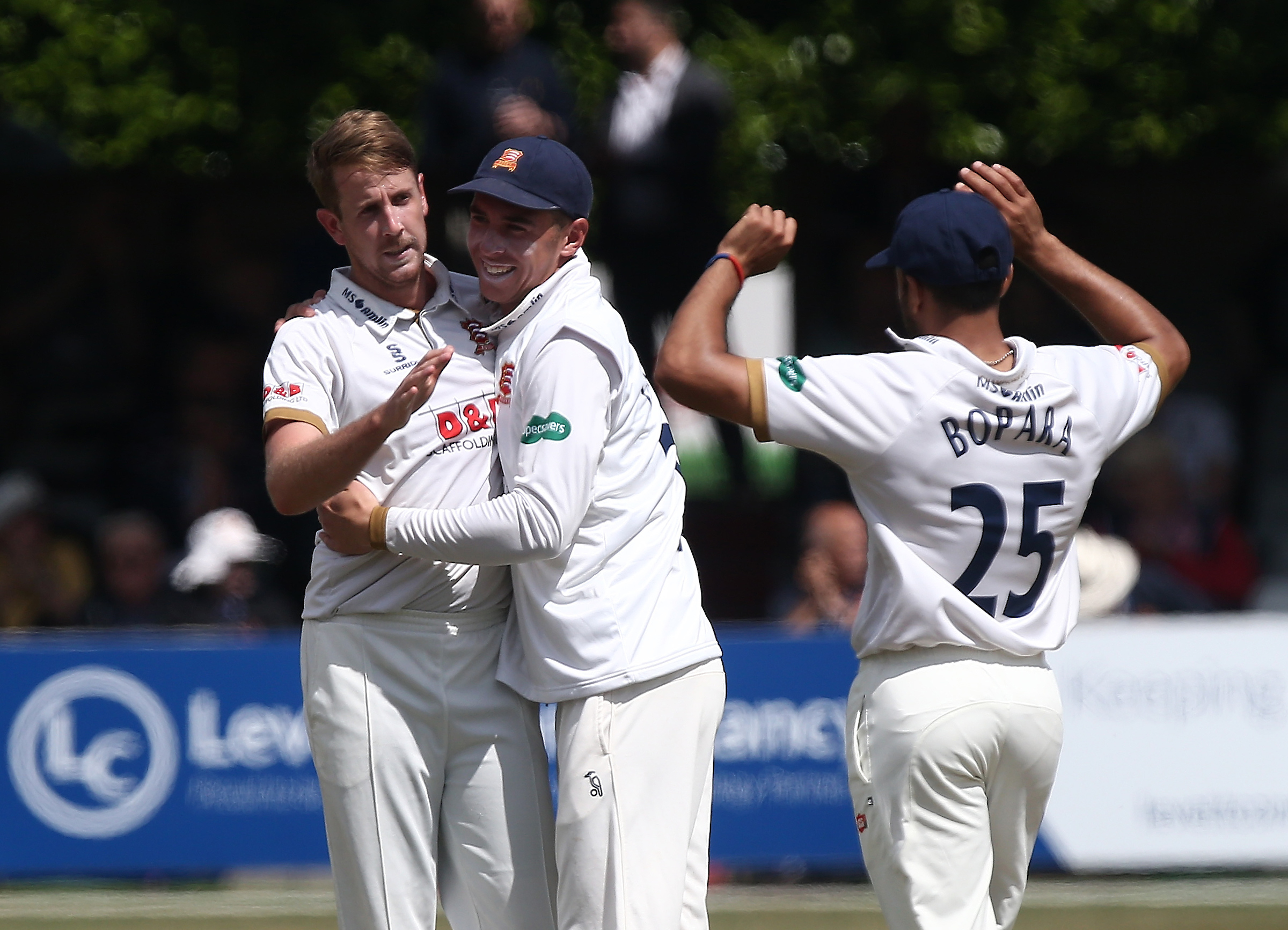 Matt Quinn of Essex celebrates with his team mates after taking the wicket of Nottinghamshire's Jake Libby Picture: Gavin Ellis/TGS Photos.
