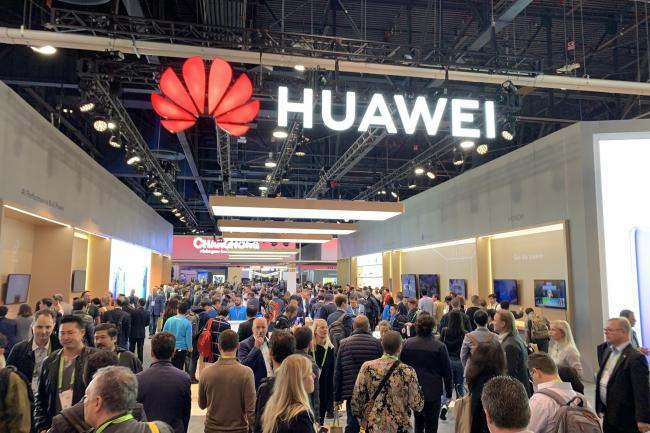 A Huawei sign, as American president Donald Trump has signed an executive order effectively banning the company from US communications networks